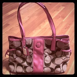 Tan/Pink Coach purse AND matching wristlet